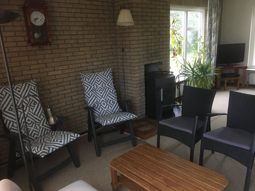 sitting arrangement in living with woodburner and television corner